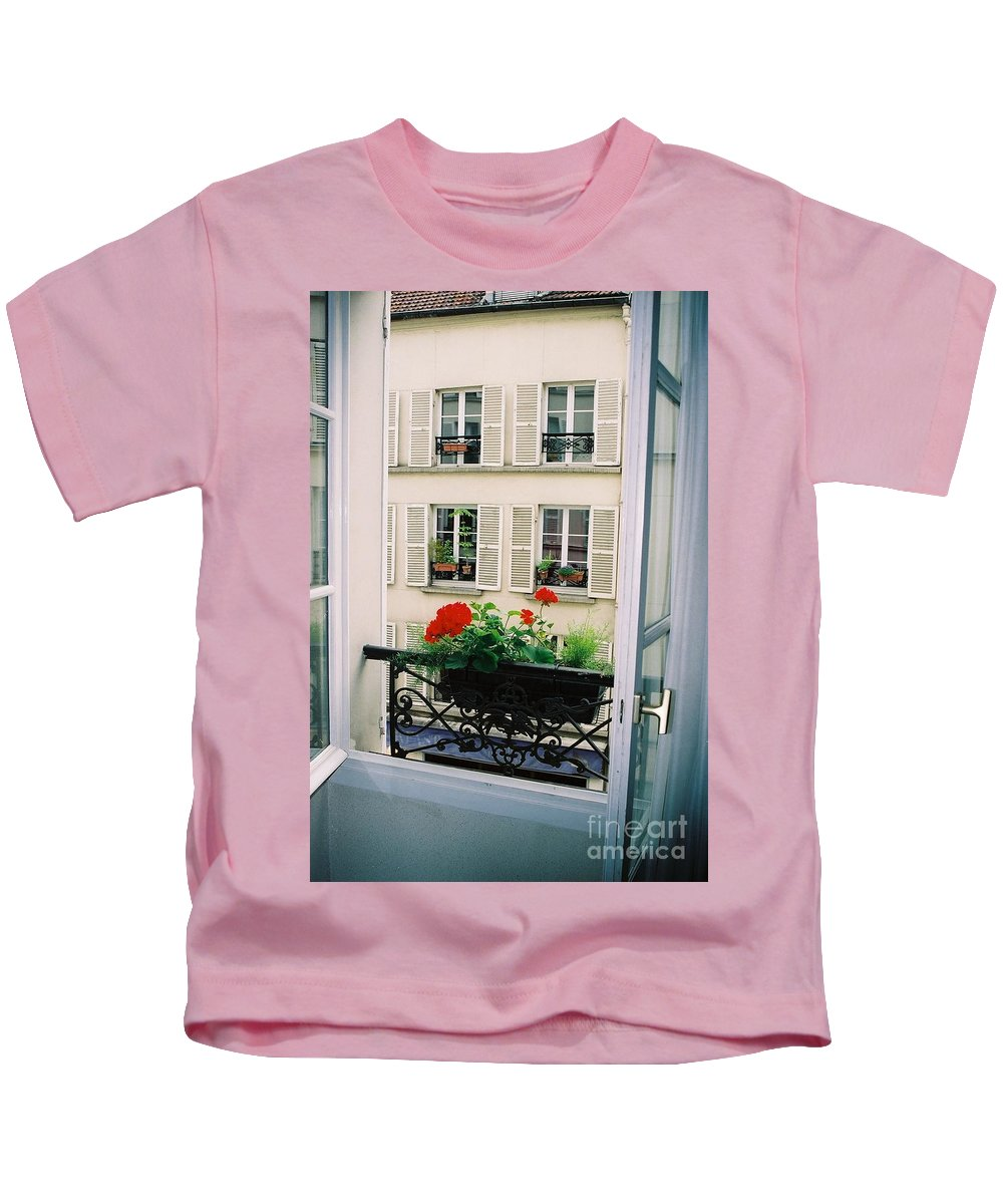 Window Kids T-Shirt featuring the photograph Paris Day Windowbox by Nadine Rippelmeyer