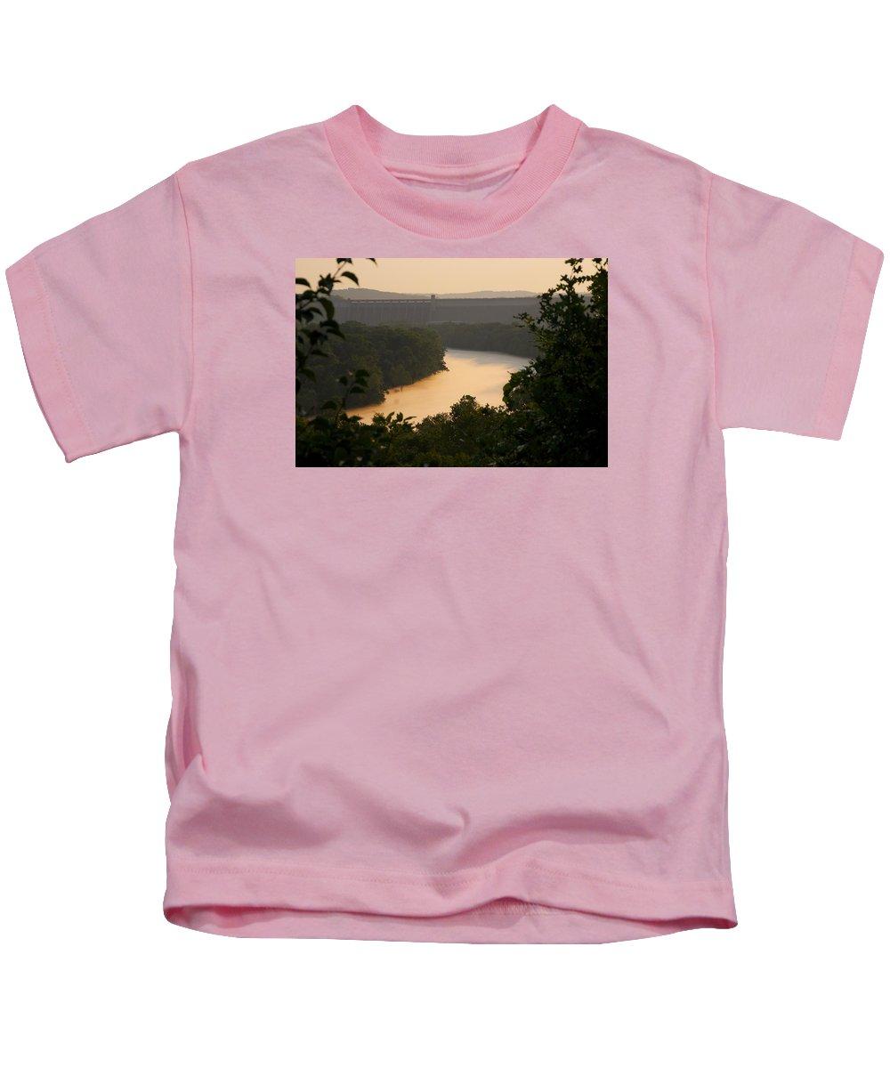Fog Kids T-Shirt featuring the photograph Peach fog by Toni Berry