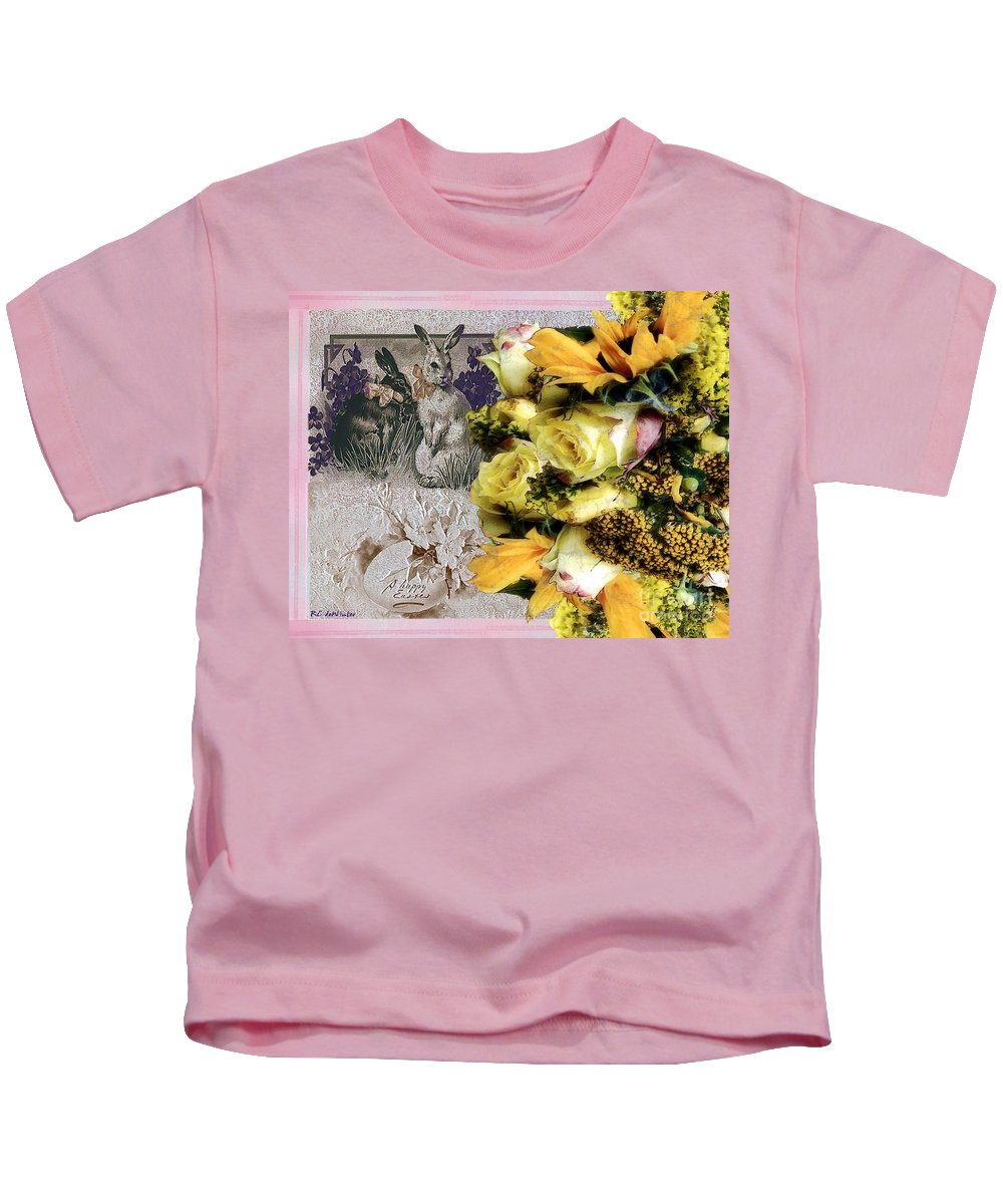 Bouquet Kids T-Shirt featuring the painting Penny Postcard Easter by RC DeWinter