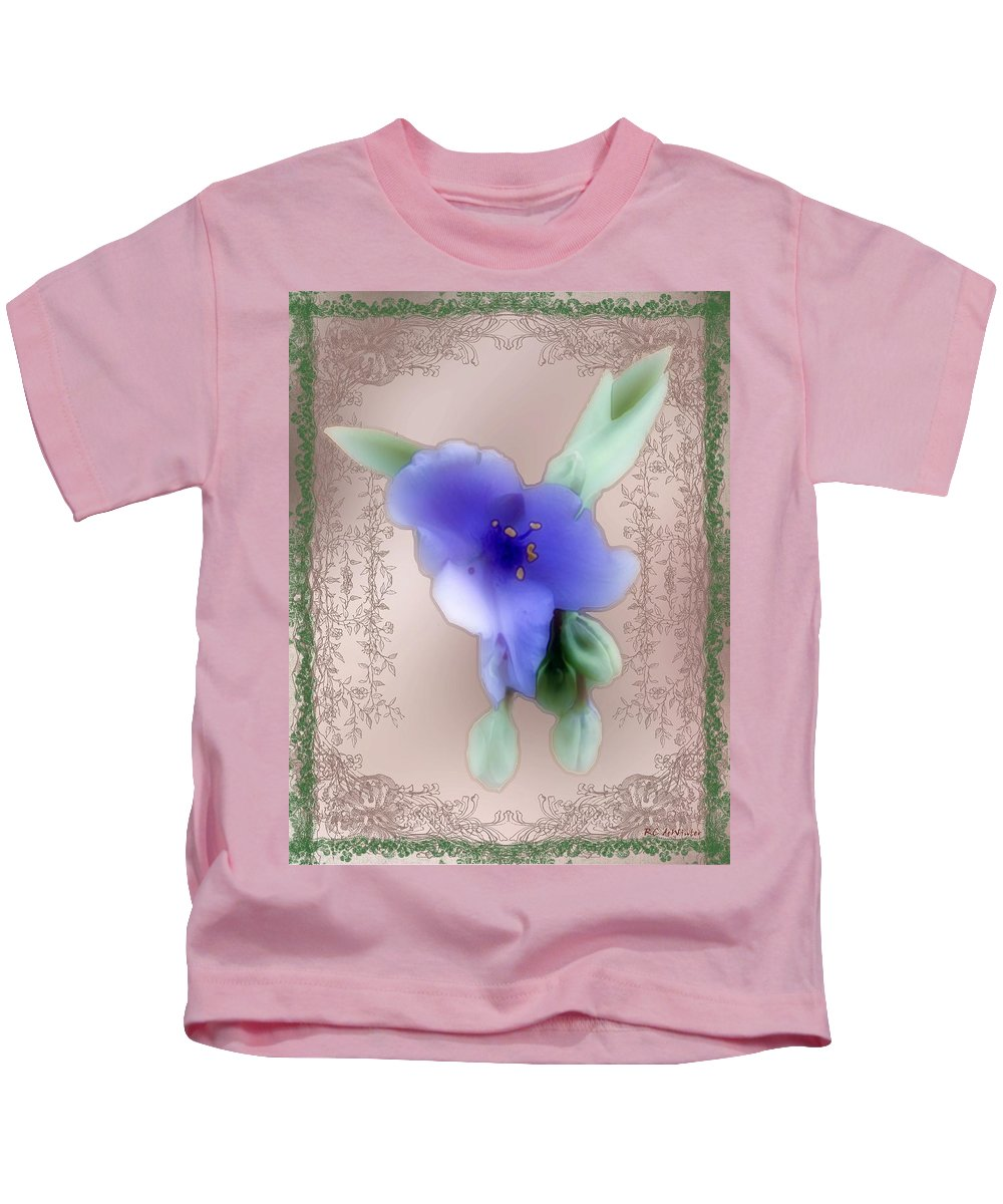 Blossoms Kids T-Shirt featuring the painting Penny Postcard Wildflower by RC DeWinter