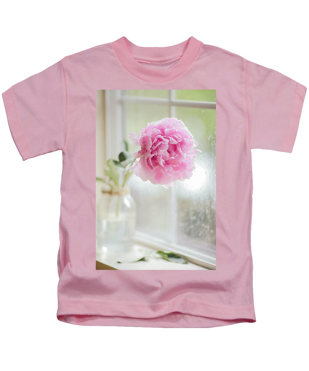 Arrangement Kids T-Shirt featuring the photograph Peony by Ella Protsenko