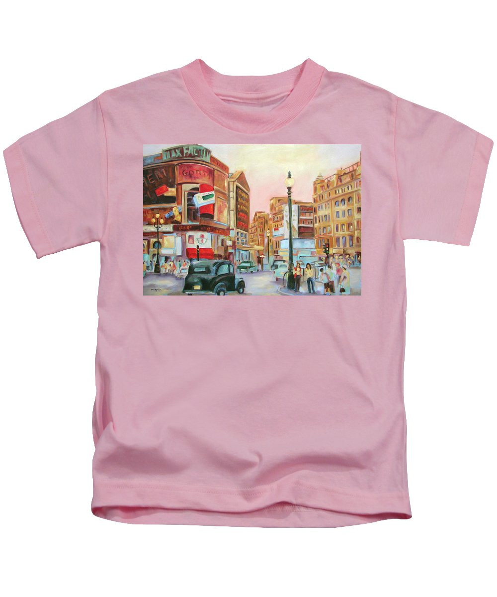 Cityscape Kids T-Shirt featuring the painting Picadilly by Ginger Concepcion