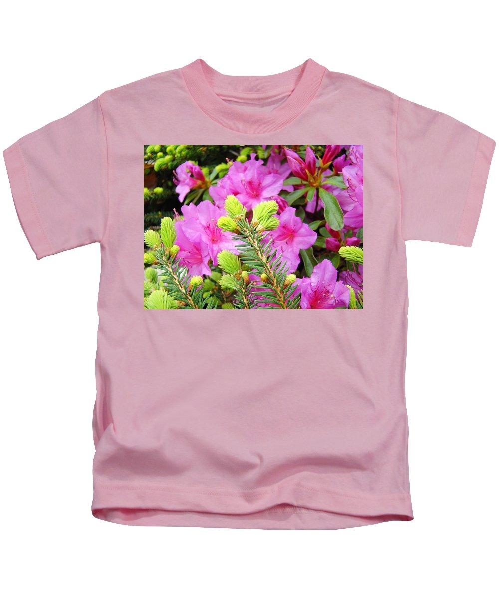 Rhodies Kids T-Shirt featuring the photograph Pine Conifer Art Print Pink Azaleas Flower Garden Baslee Troutman by Baslee Troutman