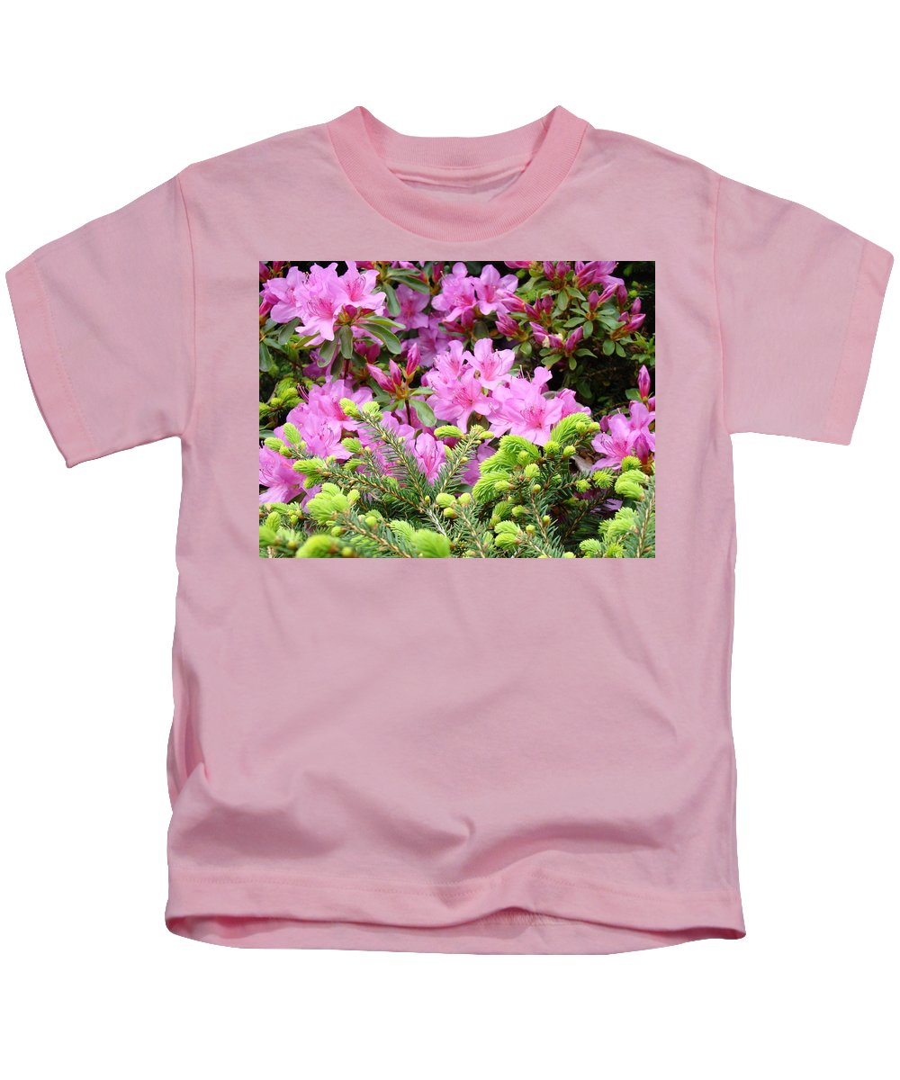 �azaleas Artwork� Kids T-Shirt featuring the photograph Pine Conifer Pink Azaleas 30 Summer Azalea Flowers Giclee Art Prints Baslee Troutman by Baslee Troutman