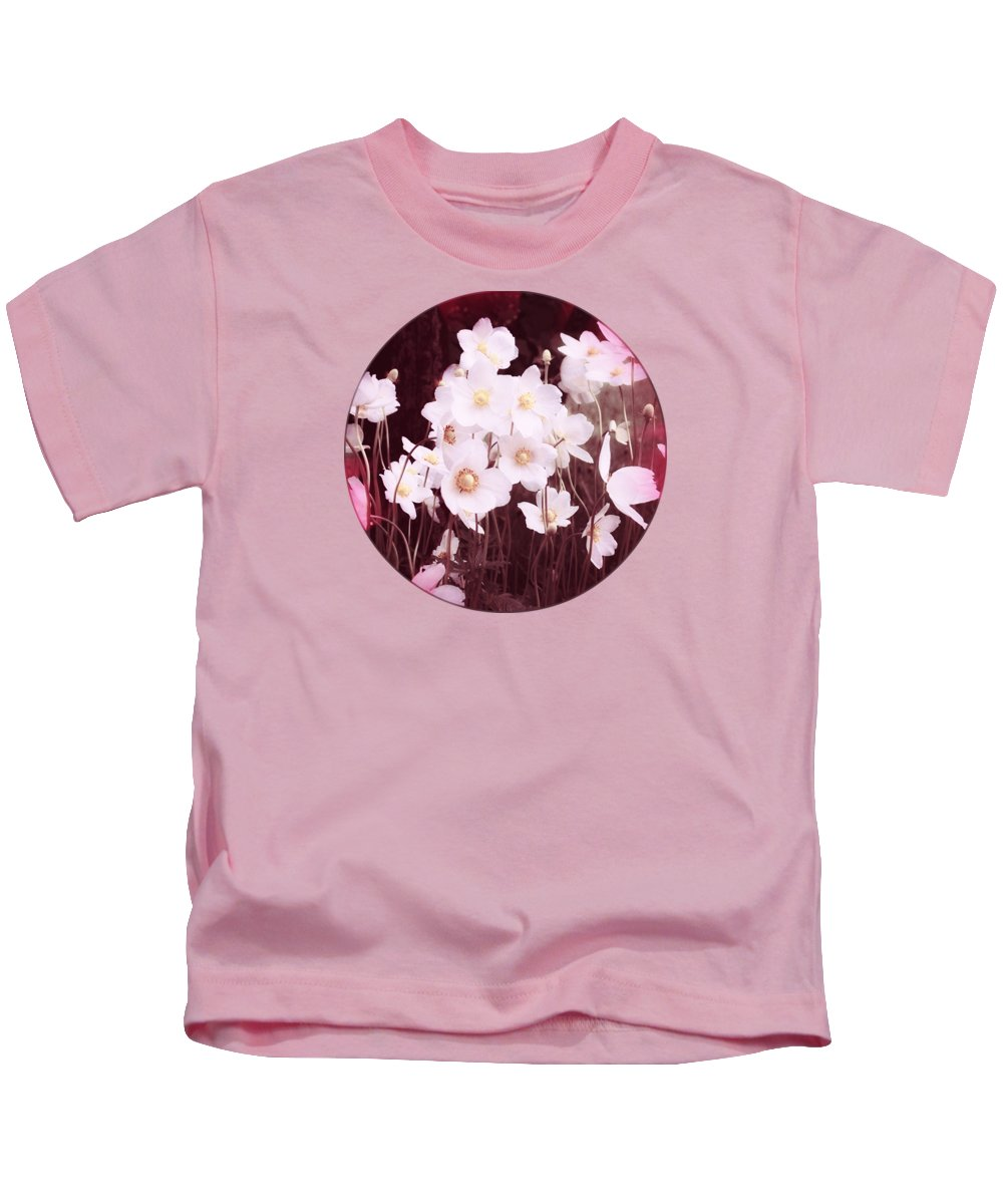 Pink Flowers Kids T-Shirt featuring the photograph Pink And White Anemones by Mary Wolf