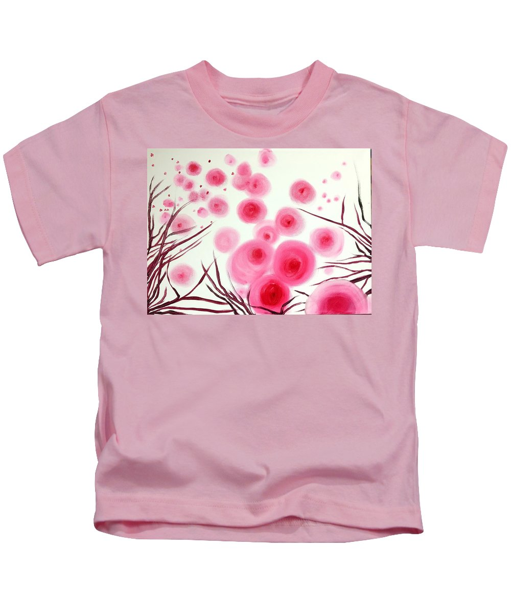 Kids T-Shirt featuring the painting Pink Bubbles by Dori Murakami