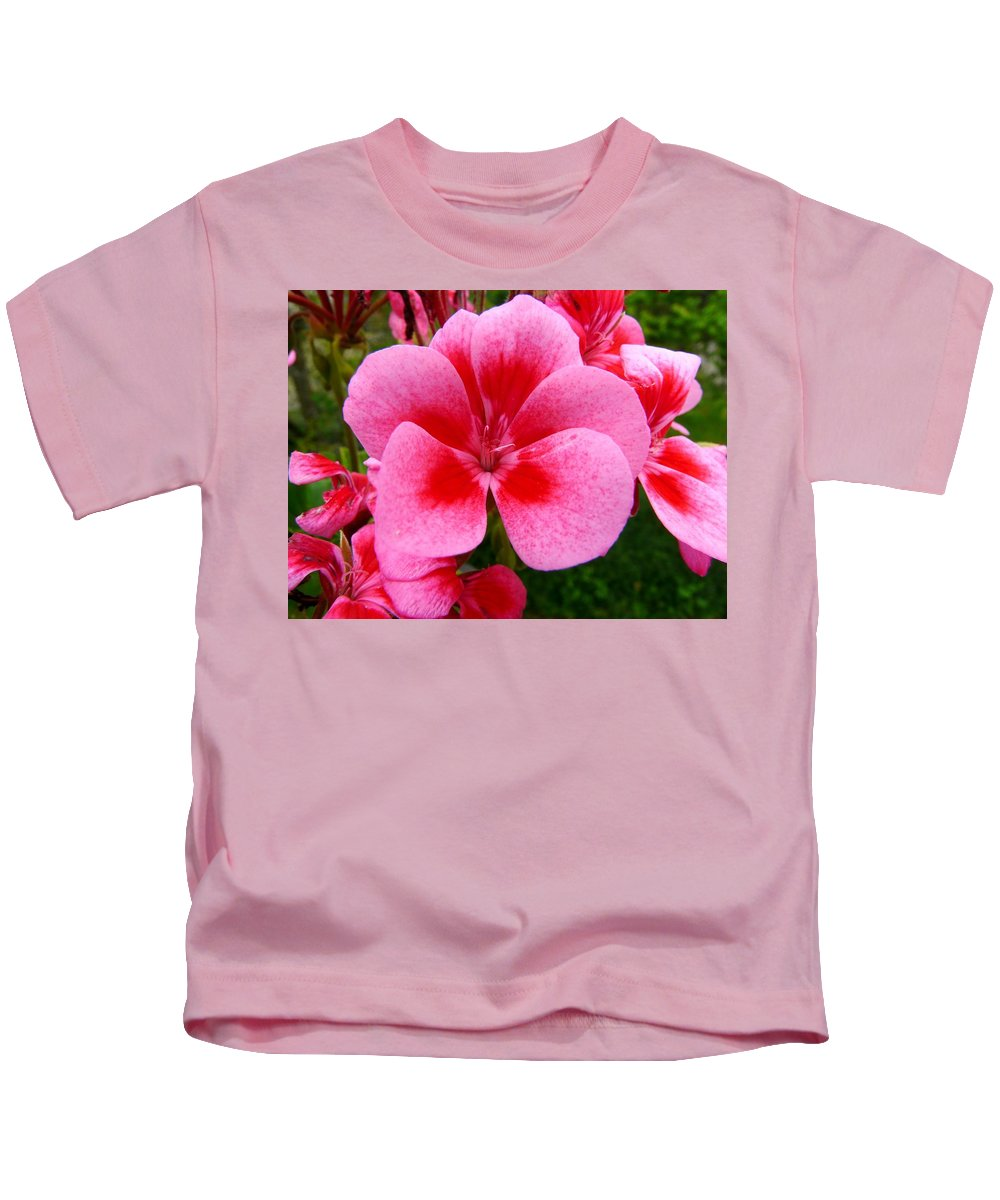 Plant Kids T-Shirt featuring the photograph Pink Geranium Blossom by Valerie Ornstein