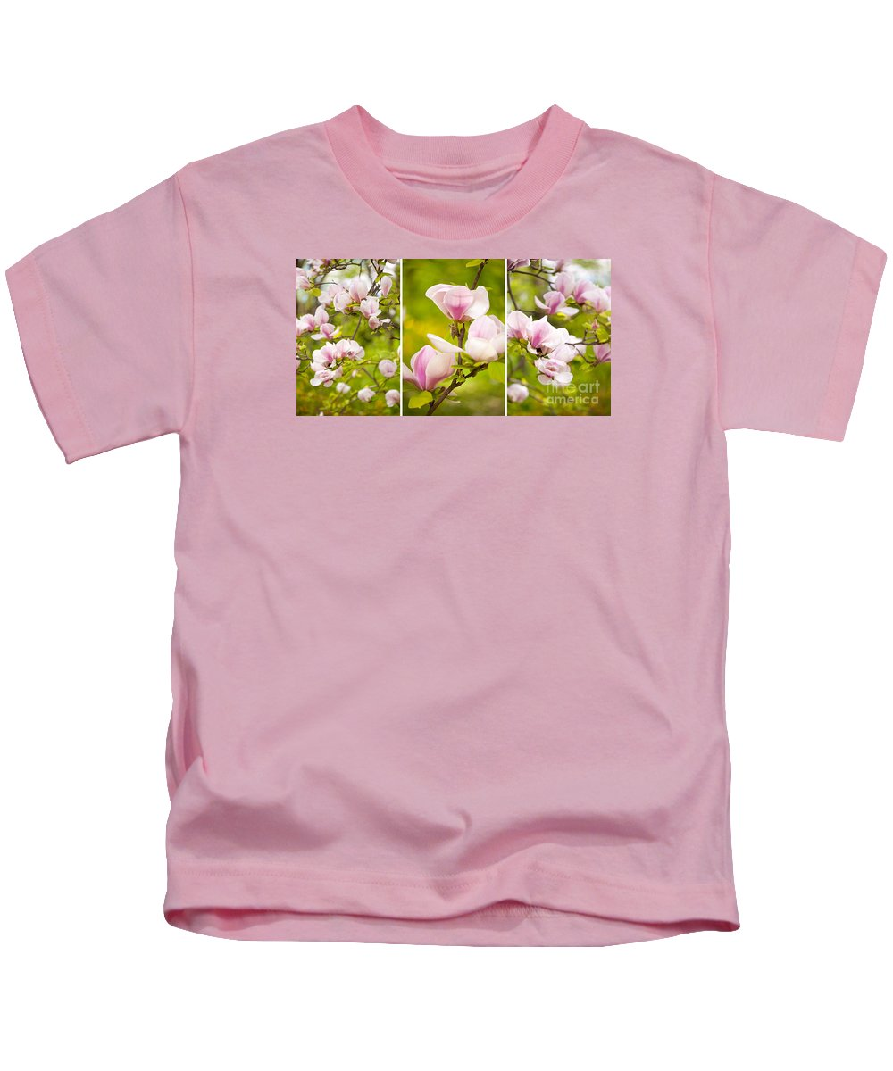 Magnoliaceae Kids T-Shirt featuring the photograph Pink Magnolia Triptych by Arletta Cwalina