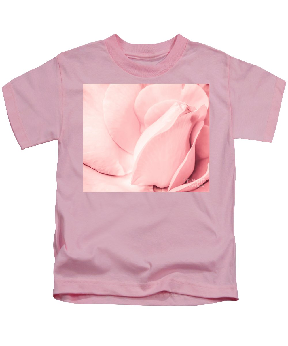 Pink. Pastel Kids T-Shirt featuring the photograph Pink Pastel Petals. by Waite