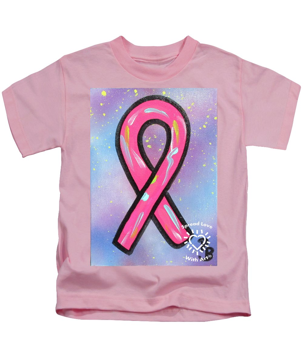 Abstract Kids T-Shirt featuring the painting Pink Ribbon by Parker Beaudoin