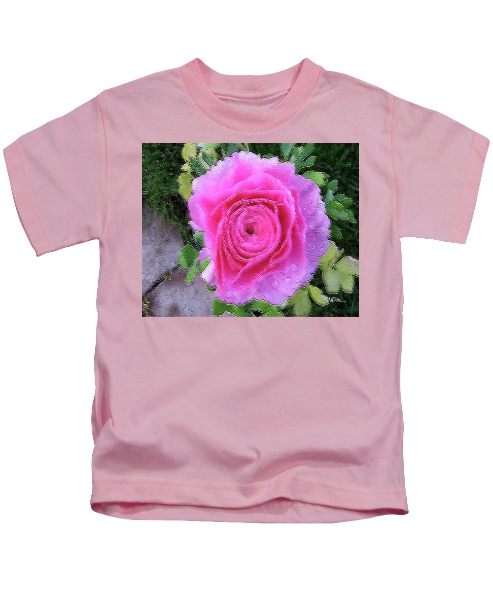 Pink Rose Kids T-Shirt featuring the photograph Pink Rose #064 by Barbara Tristan
