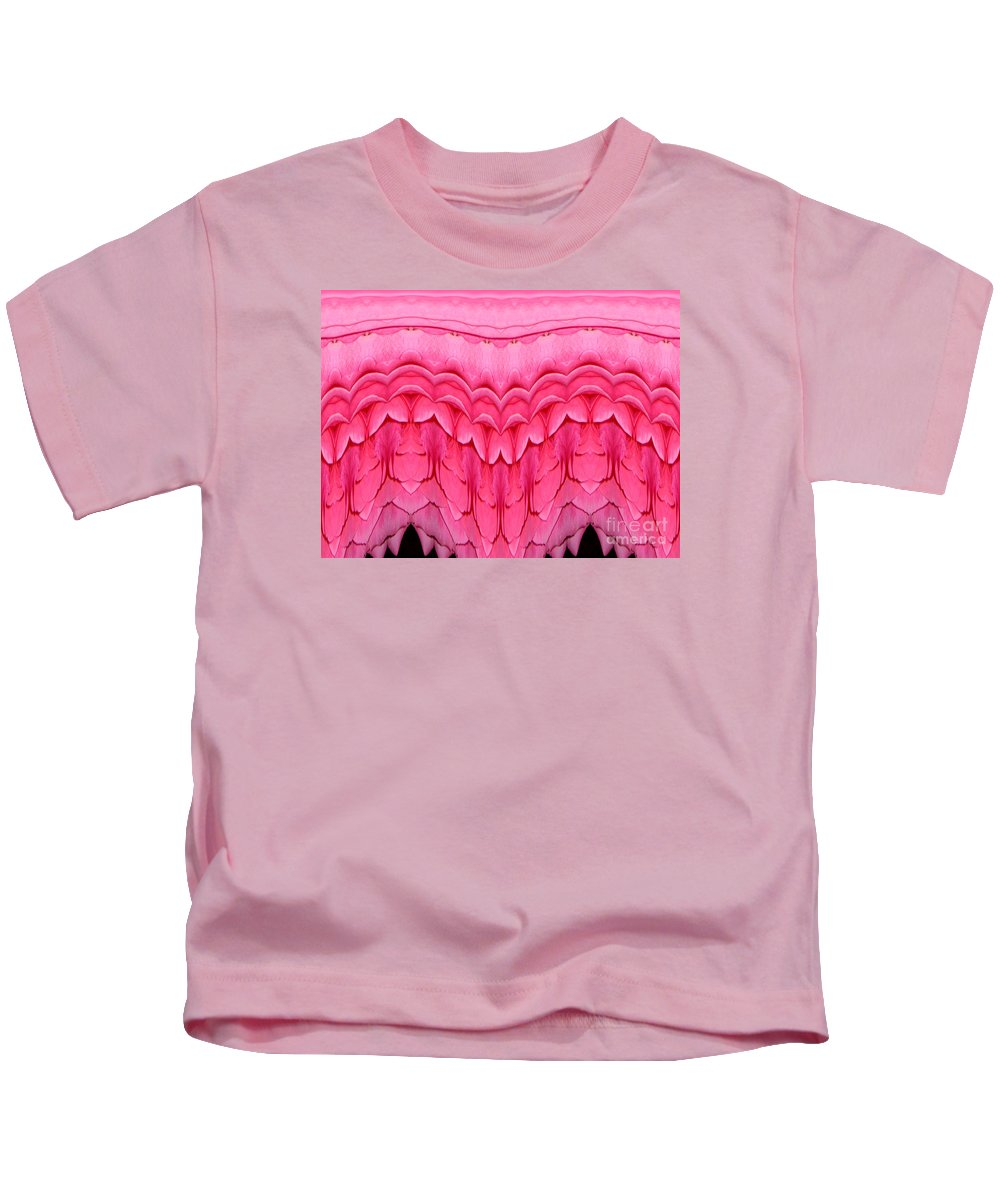 Pink Roses Polar Coordinates Effect 1 Kids T-Shirt featuring the mixed media Pink Roses Polar Coordinates Effect 1 by Rose Santuci-Sofranko