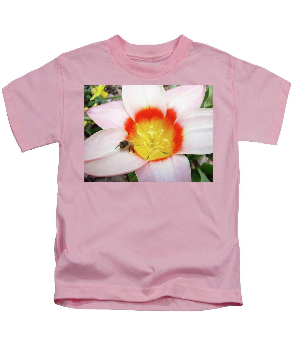 Tulip Kids T-Shirt featuring the photograph Pink Tulip Flower Orange Art Prints Honey Bee Baslee Troutman by Baslee Troutman