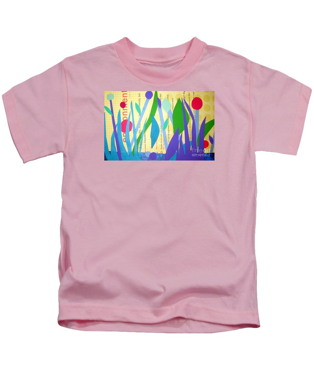 Landscape Kids T-Shirt featuring the mixed media Pond Life by Debra Bretton Robinson