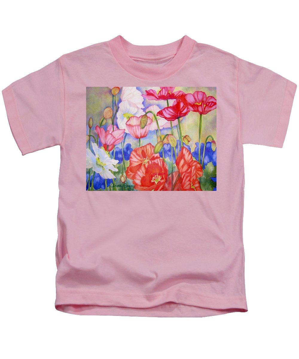 Poppies Kids T-Shirt featuring the painting Poppies by Anna Penny
