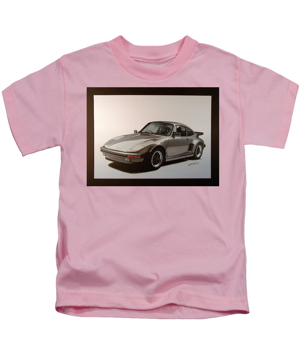 Car Kids T-Shirt featuring the painting Porsche by Shawn Stallings