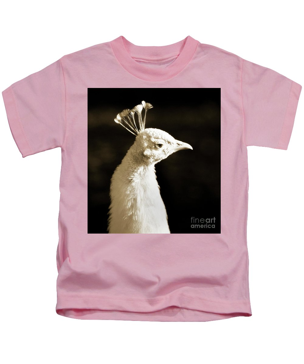 White Kids T-Shirt featuring the photograph Portrait Of A White Peacock by Bronze Riser