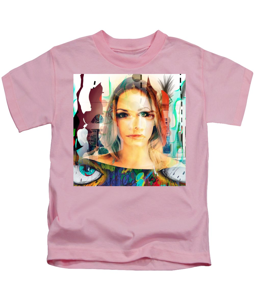Kids T-Shirt featuring the painting Portret by Maciej Mackiewicz