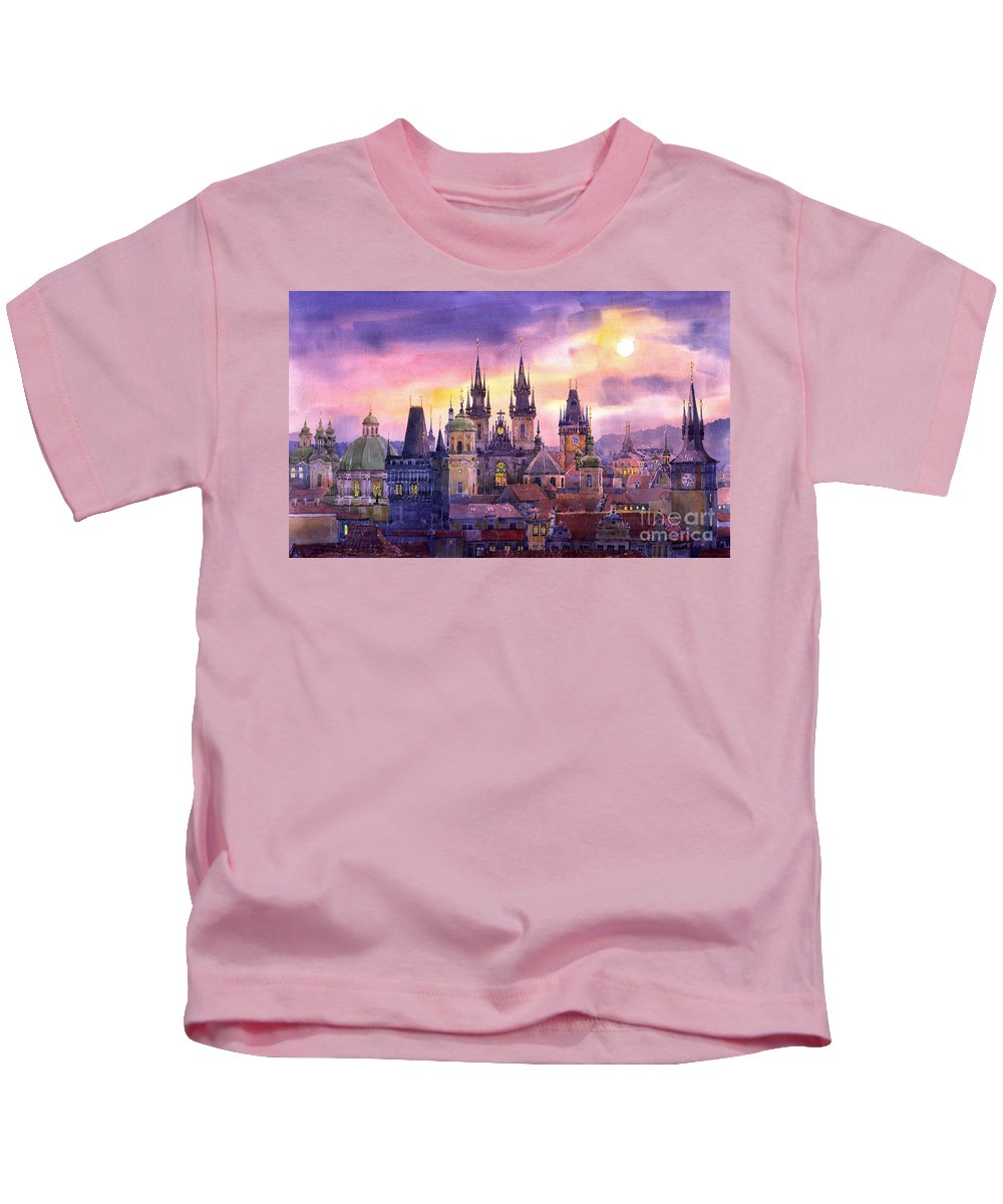 Architecture Kids T-Shirt featuring the painting Prague City Of Hundres Spiers Variant by Yuriy Shevchuk