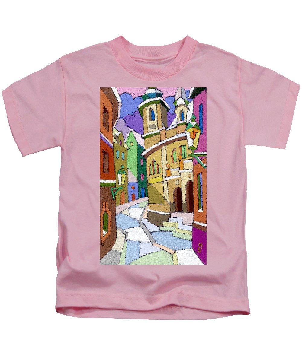 Pastel Kids T-Shirt featuring the painting Prague Old Street Karlova Winter by Yuriy Shevchuk