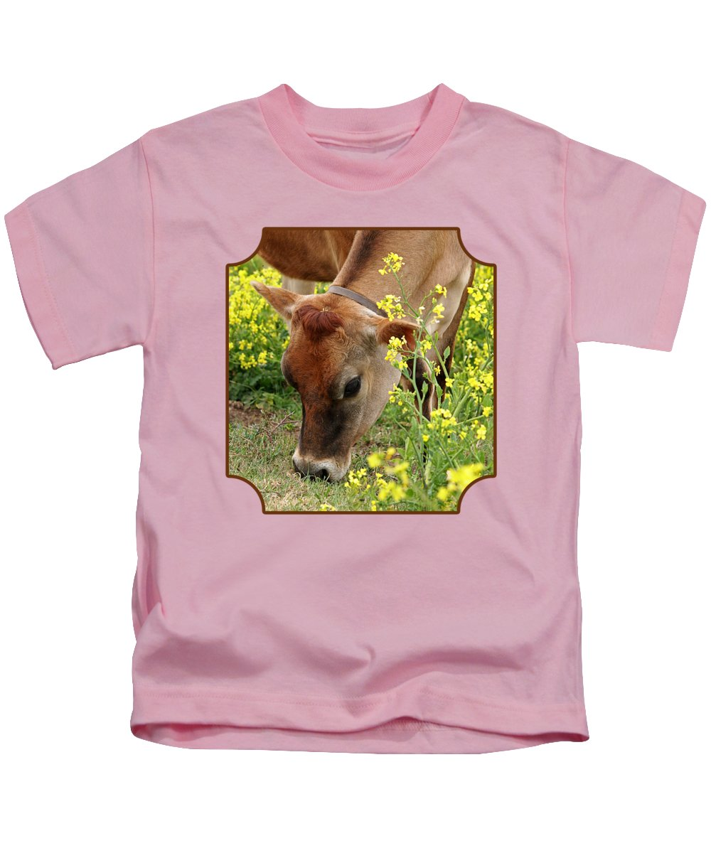 Jersey Cow Kids T-Shirt featuring the photograph Pretty Jersey Cow - Vertical by Gill Billington