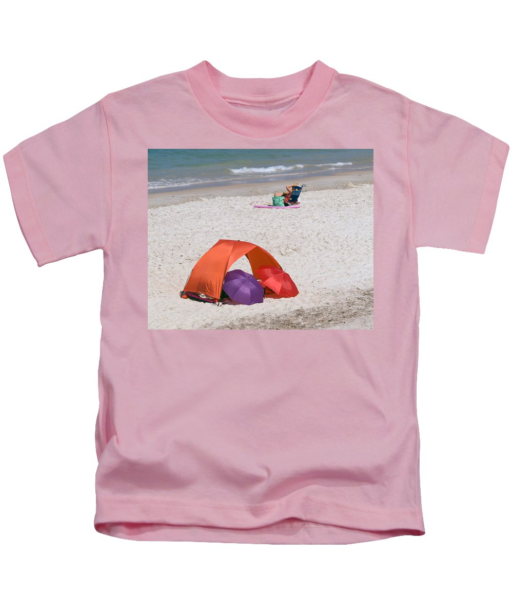 Florida; Vero; Beach; Shore; Coast; East; Atlantic; Ocean; Sand; Sandy; Umbrella; Umbrellas; Sun; Su Kids T-Shirt featuring the photograph Privacy For Two At The Beach by Allan Hughes