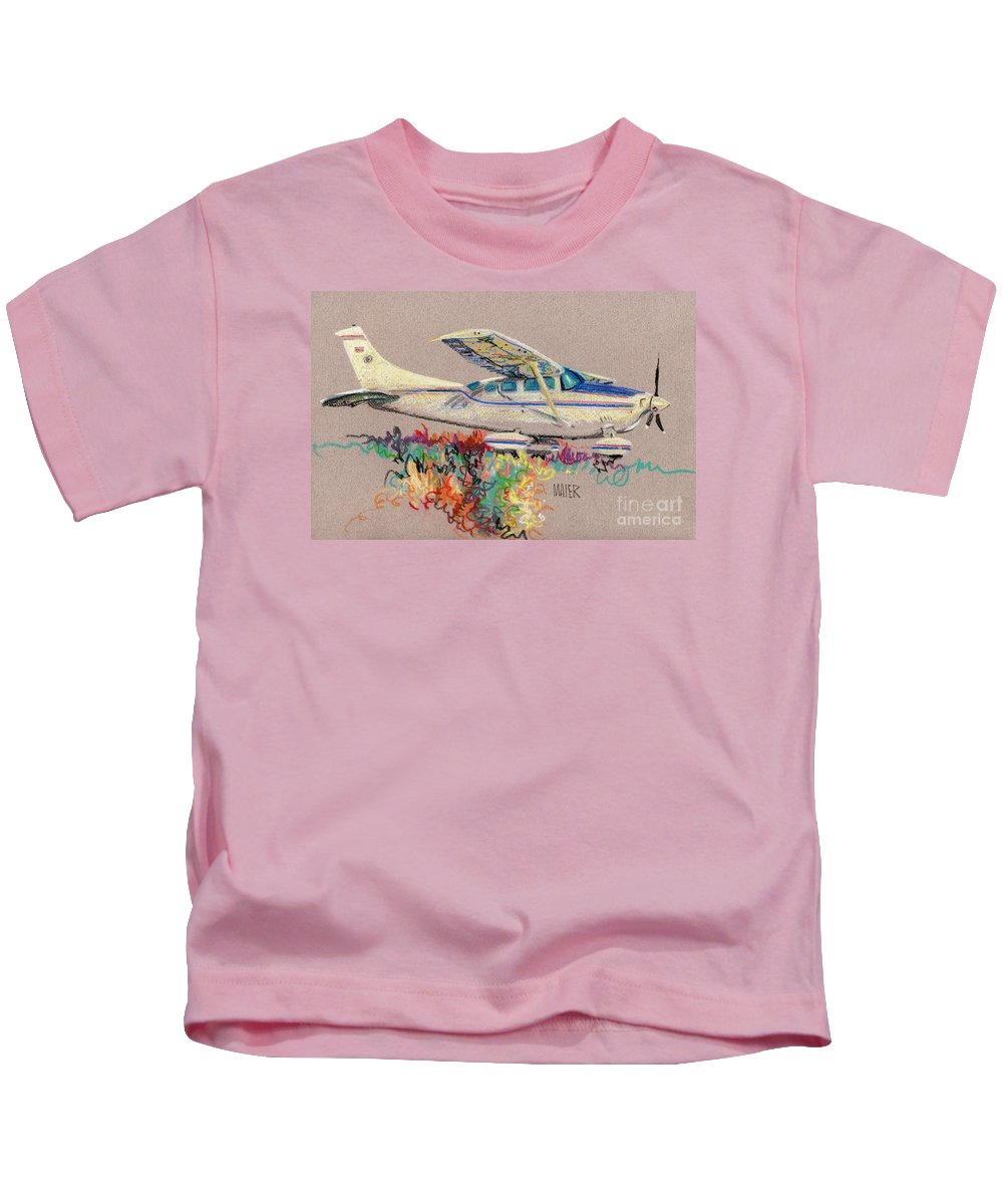 Small Plane Kids T-Shirt featuring the drawing Private Plane by Donald Maier
