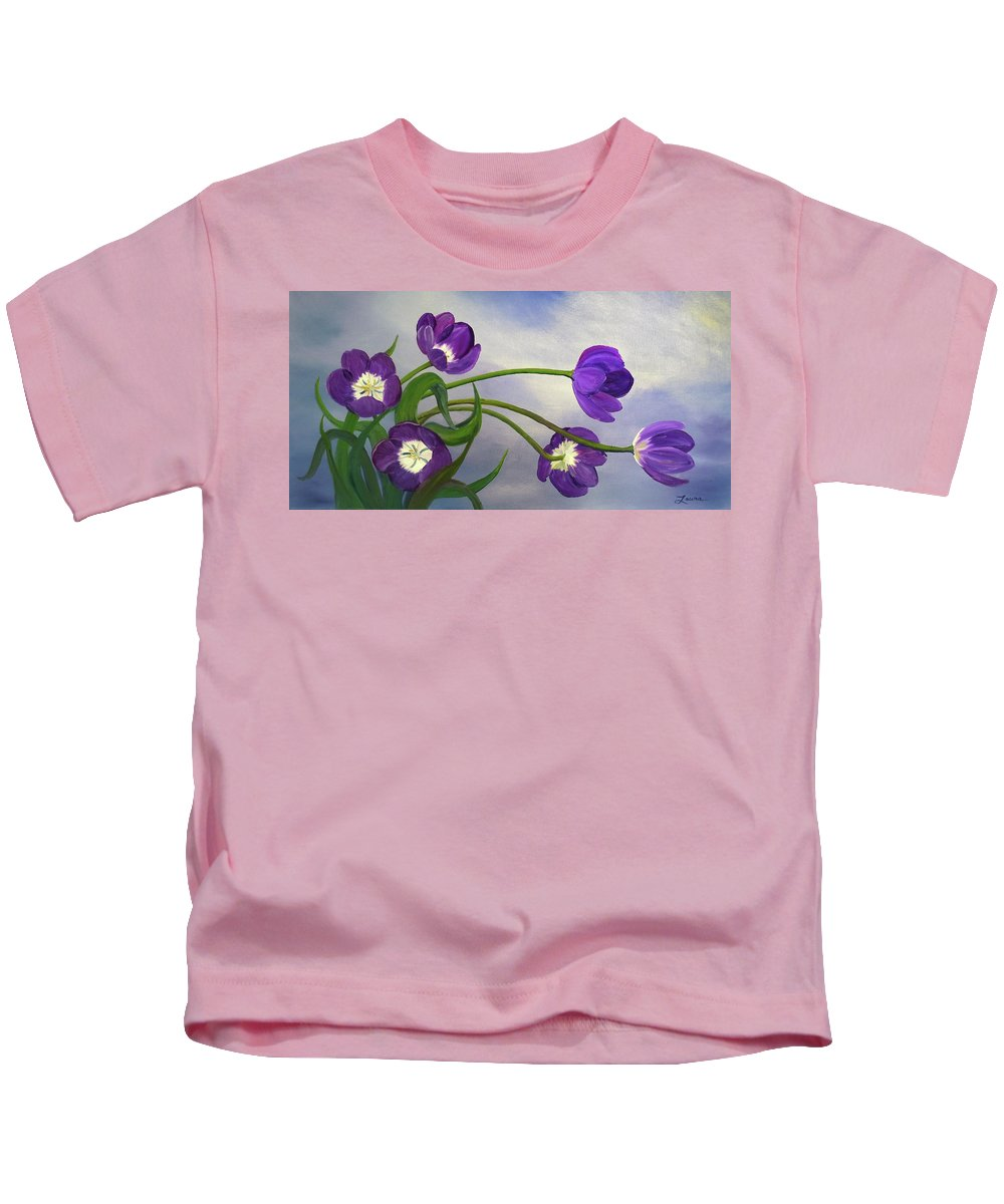 Flower Kids T-Shirt featuring the painting Purple Tulips by Laura Iverson
