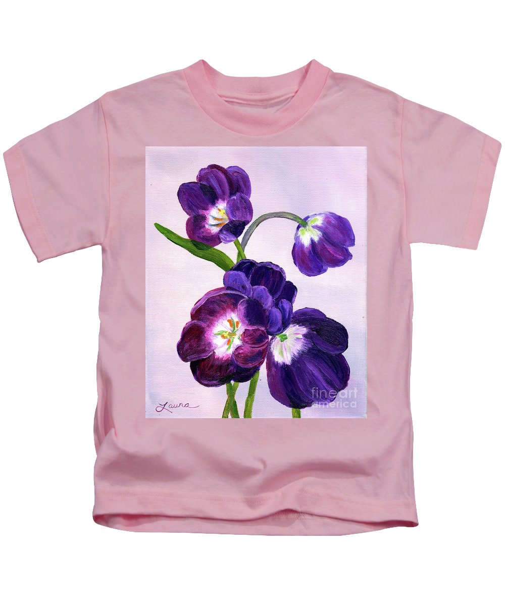 Tulips Kids T-Shirt featuring the painting Purple Tulips On Gray Background by Laura Iverson