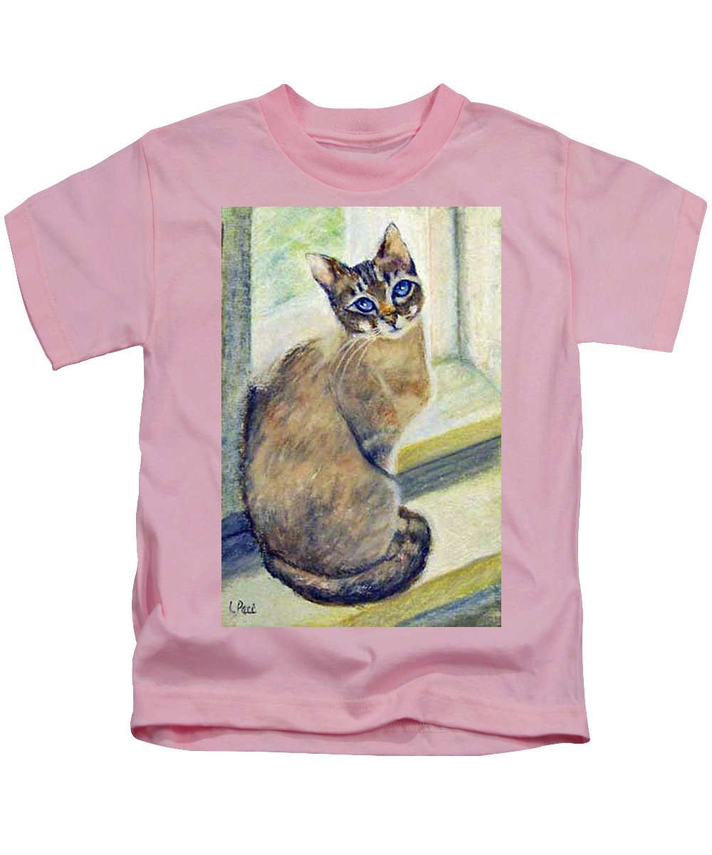Cat Kids T-Shirt featuring the painting Purrfect Window by Laurie Paci