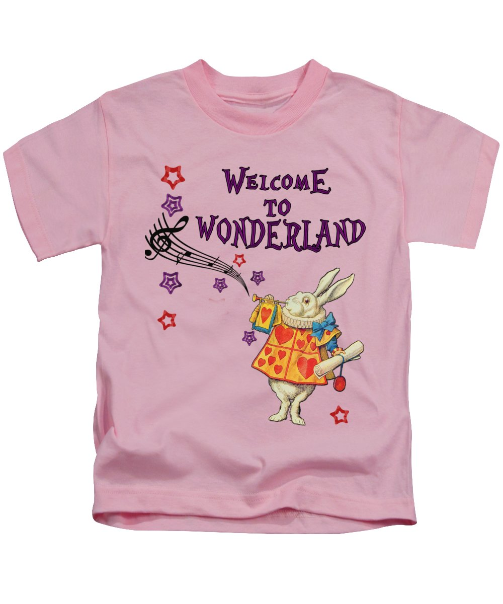 Rabbit Kids T-Shirt featuring the digital art Rabbit Welcome To .. Alice In Wonderland by Anna W