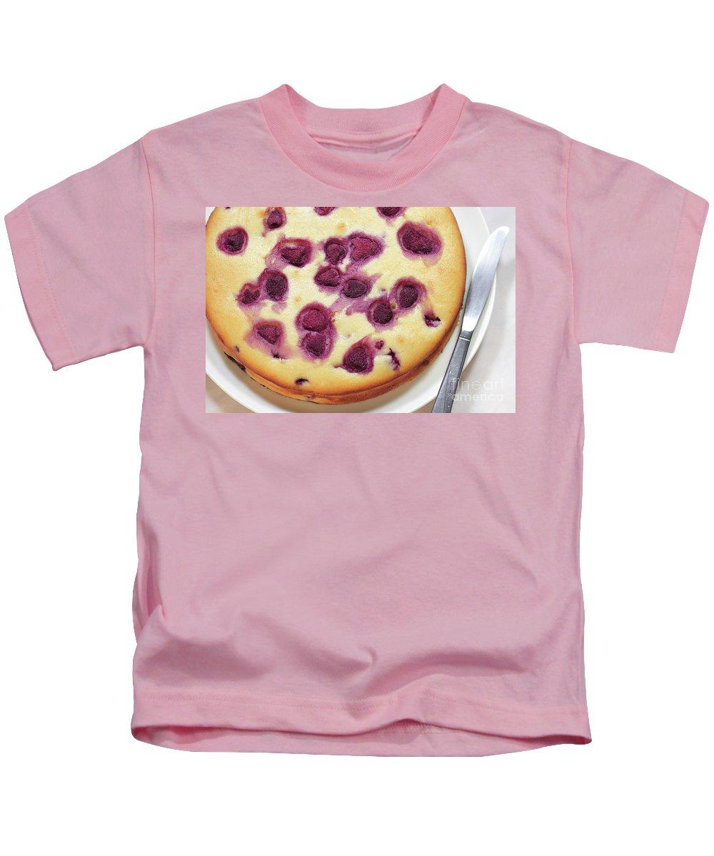 Raspberry Kids T-Shirt featuring the photograph Raspberry Cake by Masako Metz
