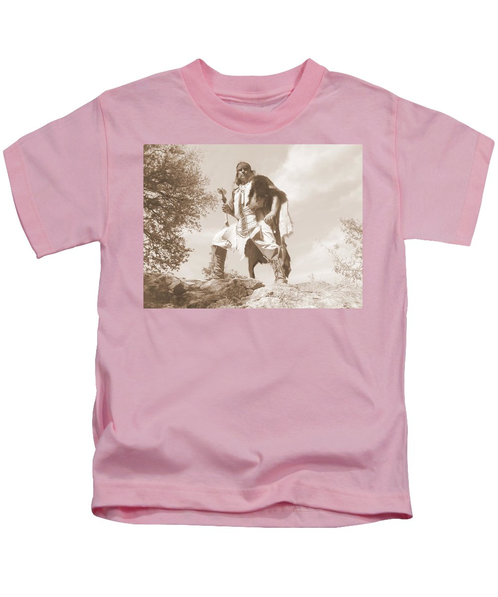 Indian War Club Scout Old Kids T-Shirt featuring the photograph Ready For The Ambush by Cindy New