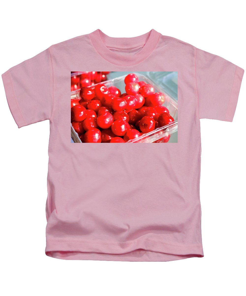 Red Cherries Kids T-Shirt featuring the photograph Red Cherries by Cynthia Woods