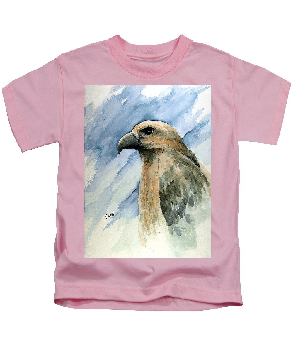 Bird Kids T-Shirt featuring the painting Red by Sam Sidders