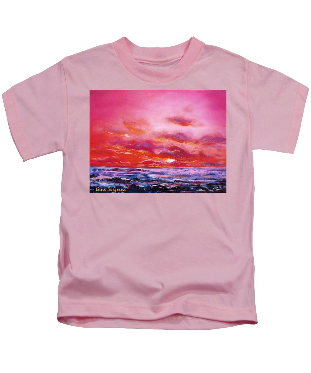 Red Kids T-Shirt featuring the painting Red Sunset by Gina De Gorna