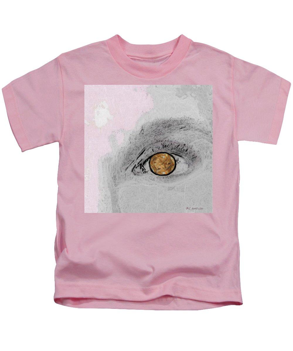 Eye Kids T-Shirt featuring the digital art Reflection In A Golden Eye by RC DeWinter