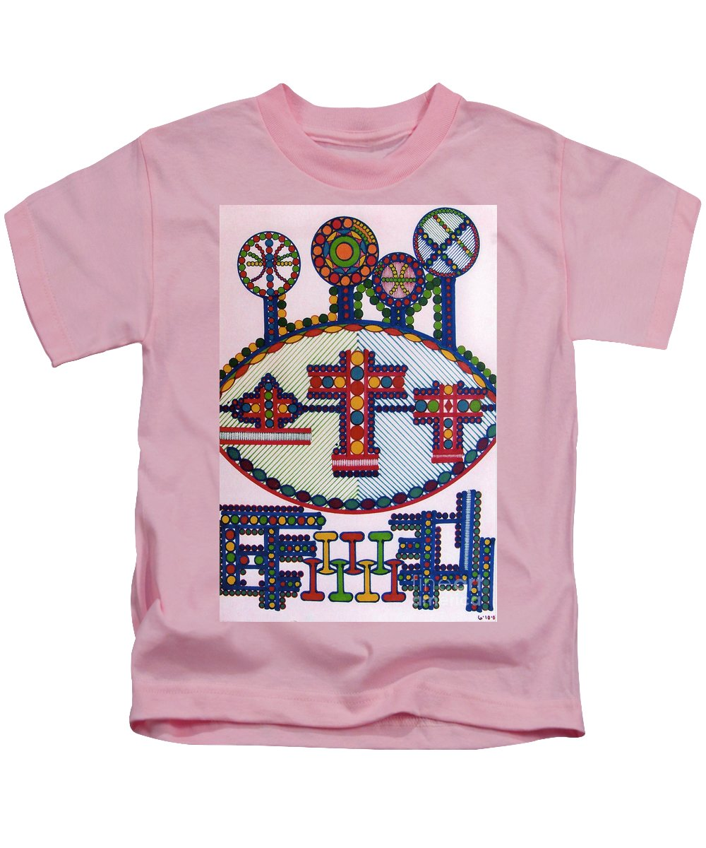 Abstract Crosses Kids T-Shirt featuring the drawing Rfb0416 by Robert F Battles