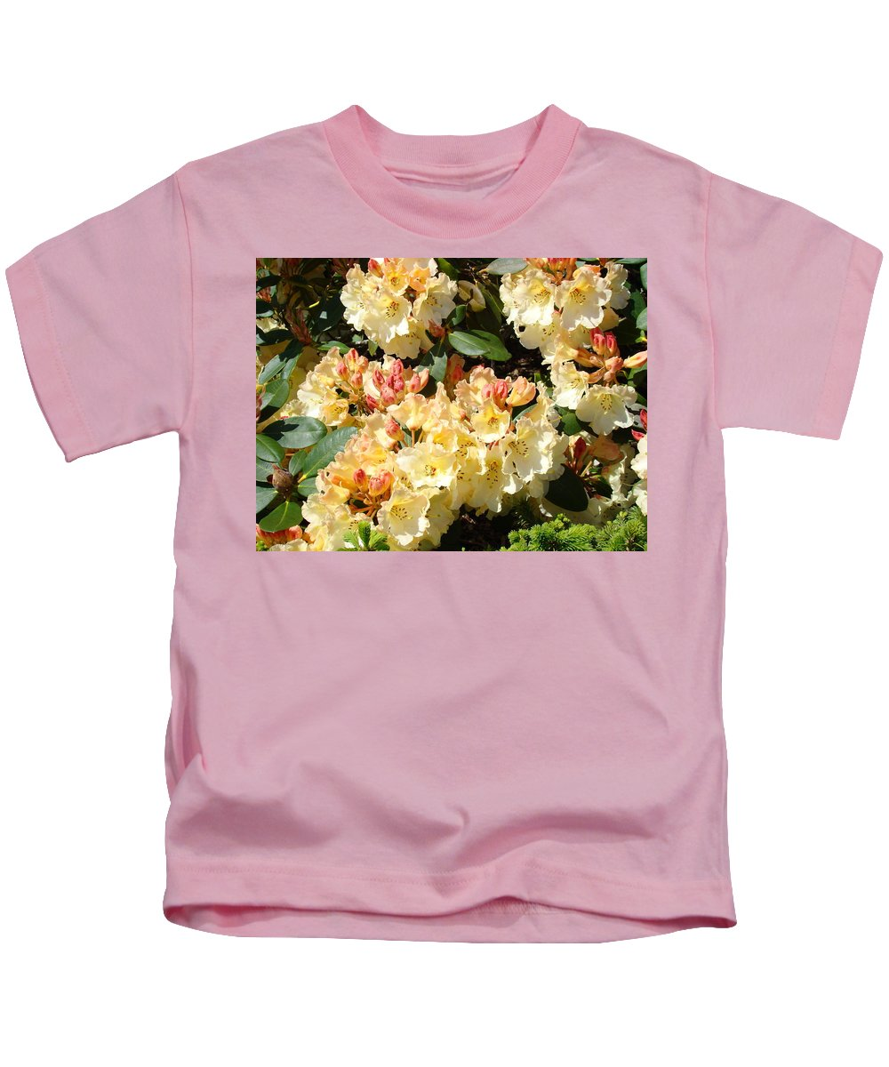 Rhodie Kids T-Shirt featuring the photograph Rhododendrons Garden Art Prints Creamy Yellow Orange Rhodies Baslee by Baslee Troutman