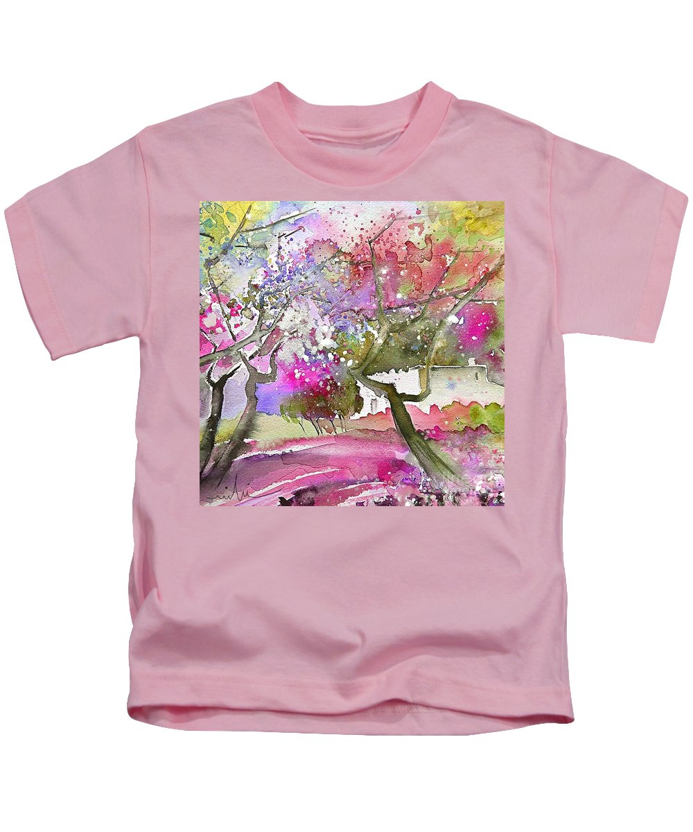 Spain Rioja Painting Travel Sketch Water Colour Miki Kids T-Shirt featuring the painting Rioja Spain 02 by Miki De Goodaboom