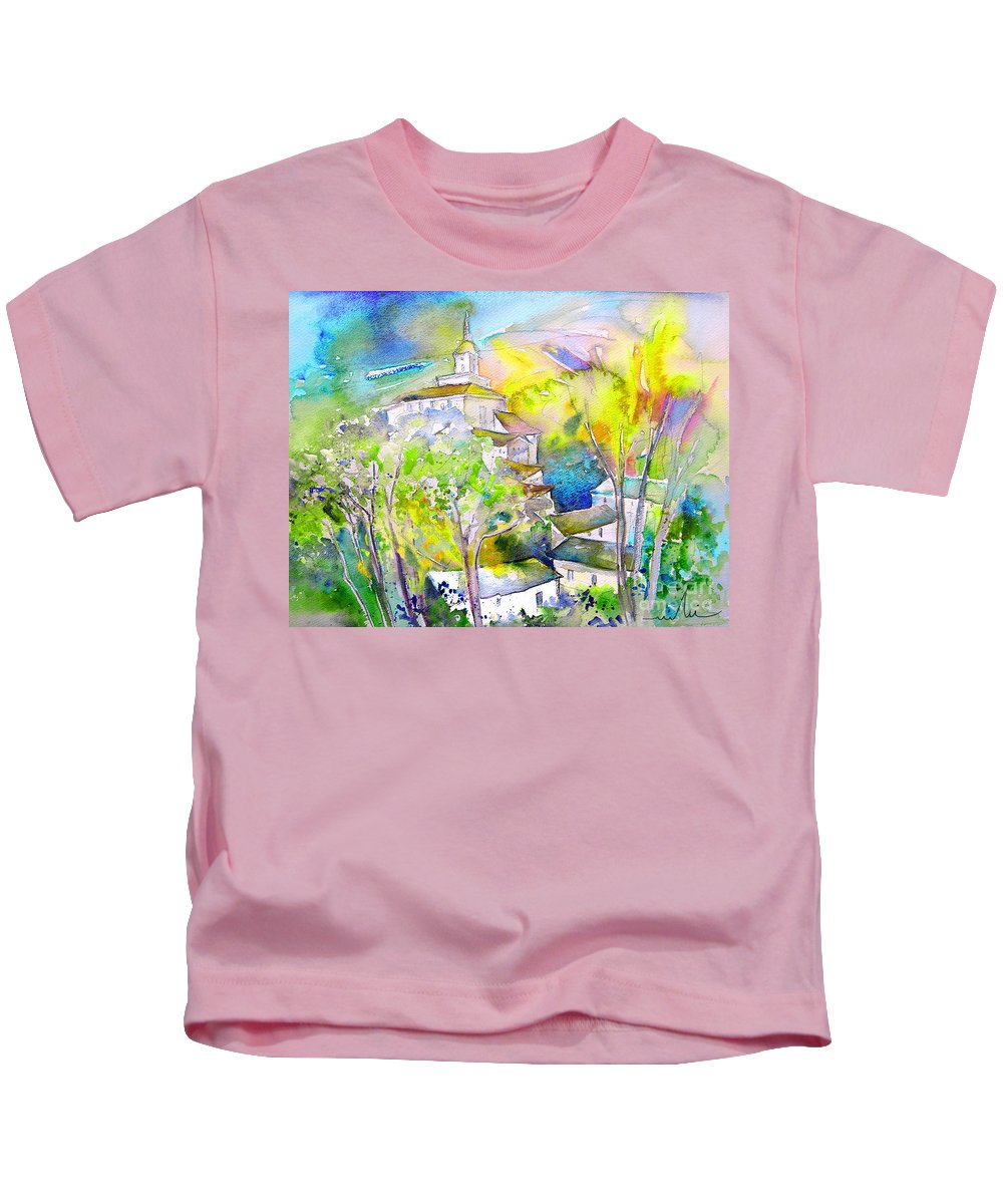 Watercolour Travel Painting Of A Village In La Rioja Spain Kids T-Shirt featuring the painting Rioja Spain 04 by Miki De Goodaboom