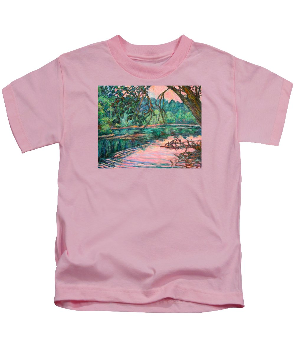 Riverview Park Kids T-Shirt featuring the painting Riverview At Dusk by Kendall Kessler