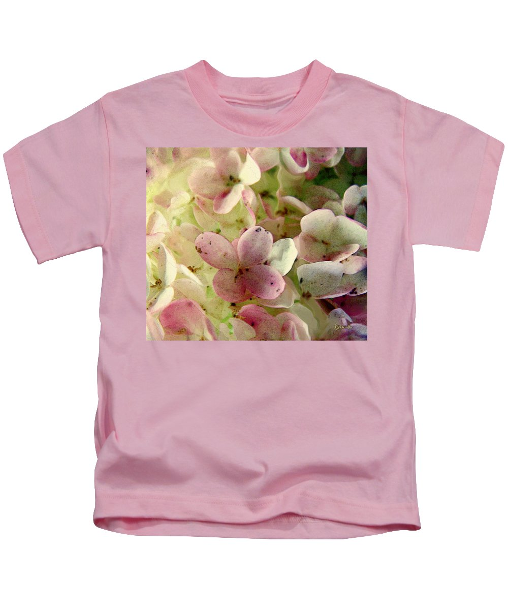 Floral Kids T-Shirt featuring the digital art Romance In Pink And Green by RC DeWinter