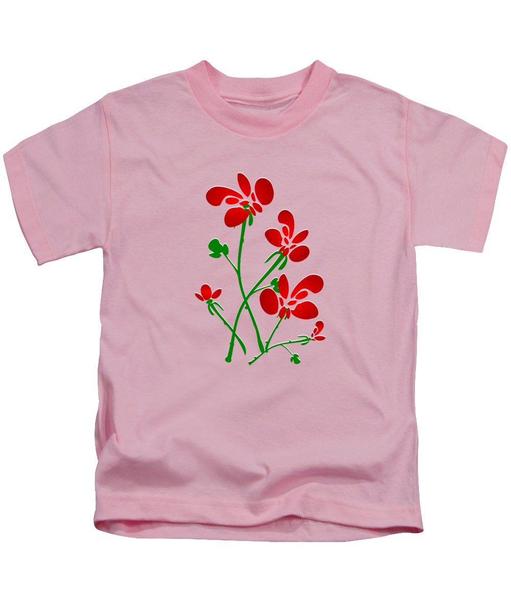 Red Kids T-Shirt featuring the digital art Rooster Flowers by Anastasiya Malakhova