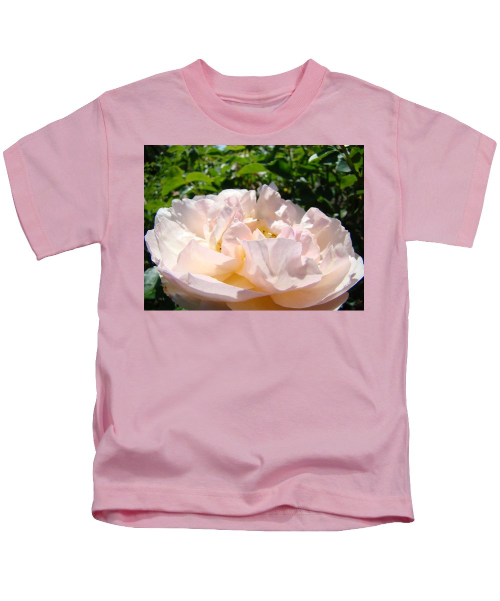 Rose Kids T-Shirt featuring the photograph Rose Art Prints Canvas Sunlit Pink Rose Garden Baslee Troutman by Baslee Troutman