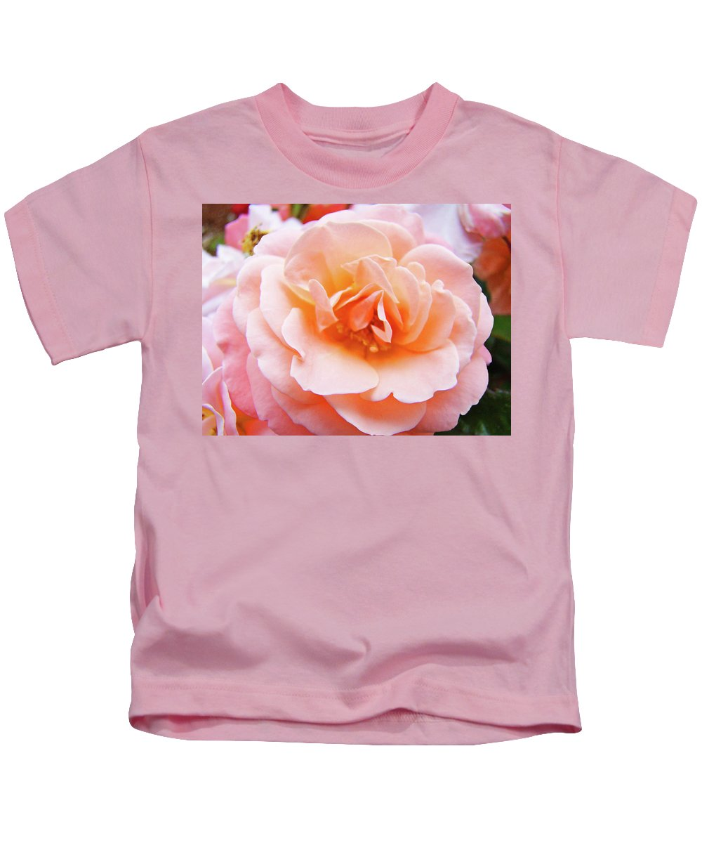 Rose Kids T-Shirt featuring the photograph Rose Floral Art Print Peach Pink Roses Garden Canvas Baslee Troutman by Baslee Troutman