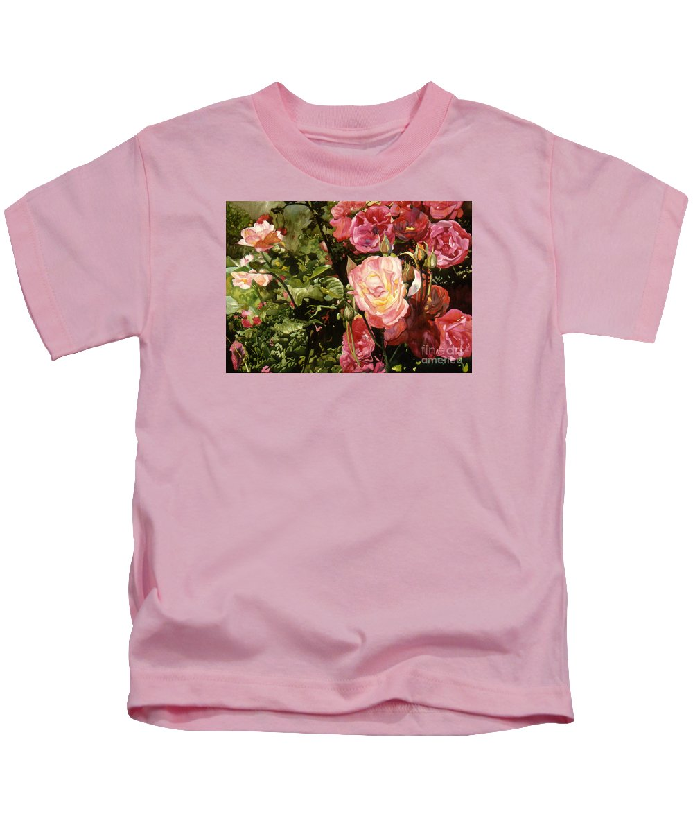 Watercolor Kids T-Shirt featuring the painting Rose Garden by Teri Starkweather
