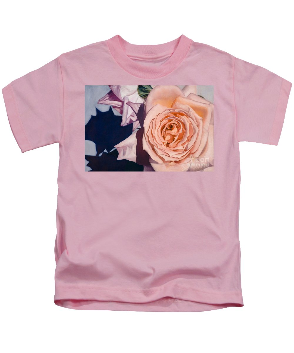 Roses Kids T-Shirt featuring the painting Rose Splendour by Kerryn Madsen-Pietsch