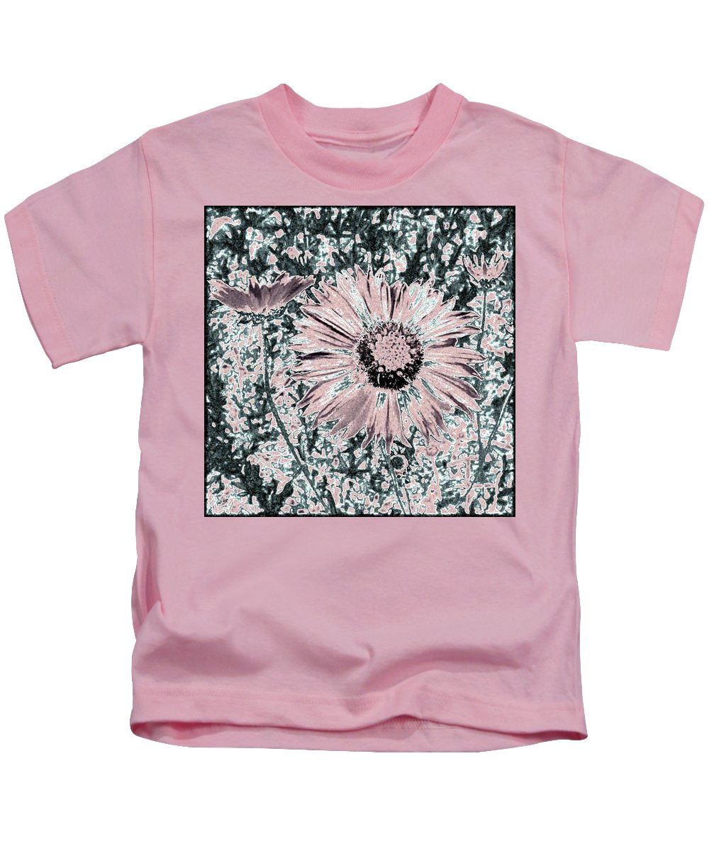 Daisies Kids T-Shirt featuring the digital art Rose Wine Daisies by Will Borden