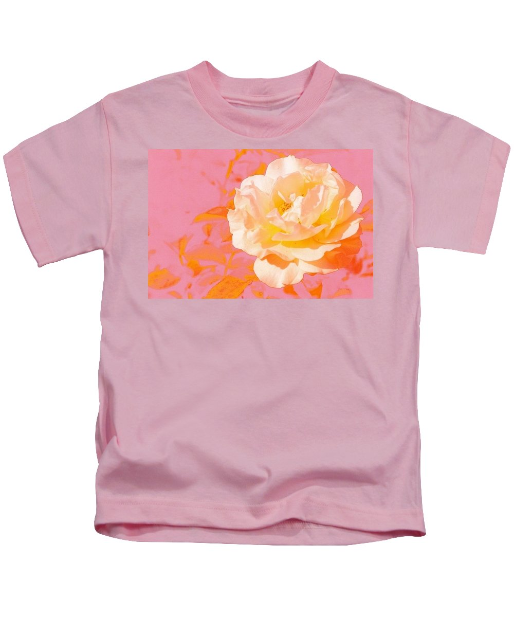 Rose Kids T-Shirt featuring the photograph Rose With Pink Background by Sara Graham-Costain